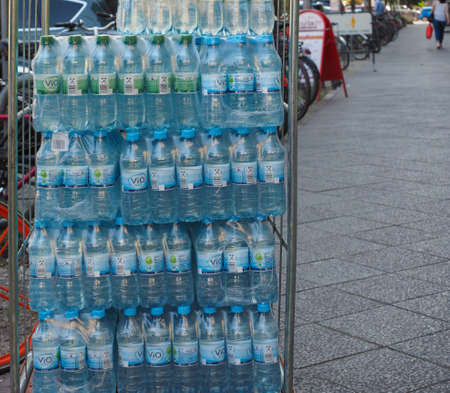 BERLIN, GERMANY - CIRCA JUNE 2019: Vio still and medium sparkling water bottles being delivered to a bar