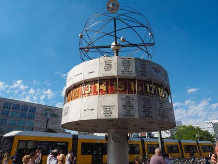 BERLIN, GERMANY - CIRCA JUNE 2019: Urania Weltzeituhr (Urania World Clock) in Alexanderplatz Editorial