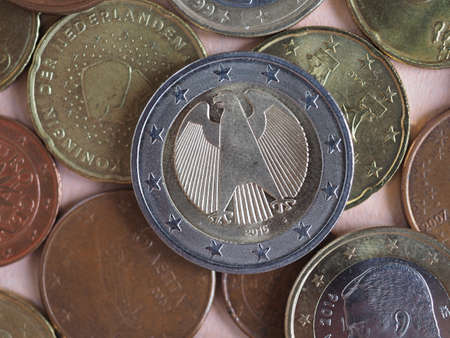 Euro coins money (EUR), currency of European Union useful as a background