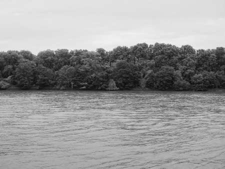 Panoramic view of River Thames in Chelsea, London, UK in black and white