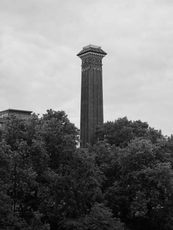 Shot Tower in Chelsea in London, UK in black and white