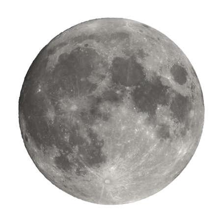 Pleine lune vue avec un télescope astronomique isolé sur fond blanc