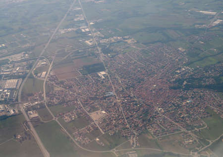 Aerial view of the city of Volpiano, Italy