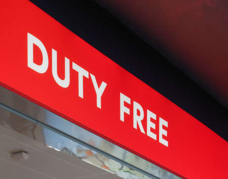 duty free shop sign in an airport