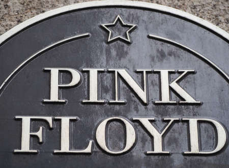 LONDON, UK - CIRCA SEPTEMBER 2019: Pink Floyd plaque at Regent Street Polytechnic where they studied and formed the band