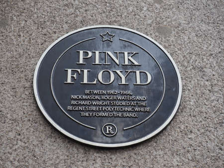 LONDON, UK - CIRCA SEPTEMBER 2019: Pink Floyd plaque at Regent Street Polytechnic where they studied and formed the band Sajtókép