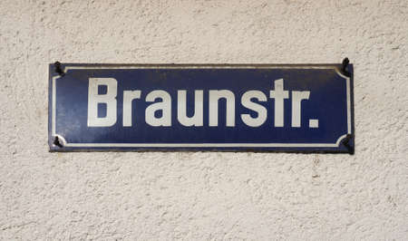 Braunstr (Braun strasse, meaning Brown street) sign in Koeln, Germany
