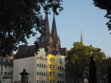 The cathedral seen from Alter Markt (old market) historic square in the Altstadt (old town) in Koeln, Germany