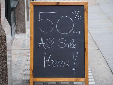 50 percent off all sale items sign Banque d'images