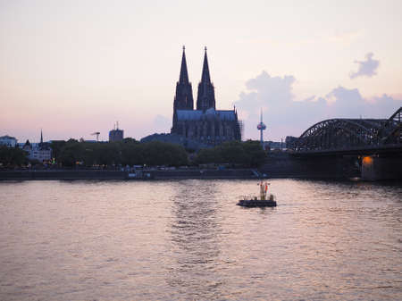 View of the city in Koeln, Germany From The River At Night