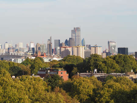 View of London skyline from Primrose Hill north of Regent's Park in London, UK