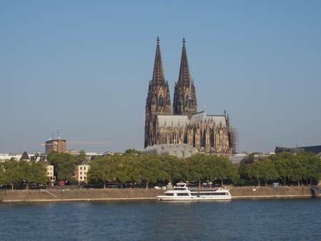 KOELN, GERMANY - CIRCA AUGUST 2019: View of the city skyline from the river Redakční