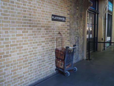LONDON, UK - CIRCA SEPTEMBER 2019: Harry Potter Platform Nine and Three Quarters at King's Cross Station