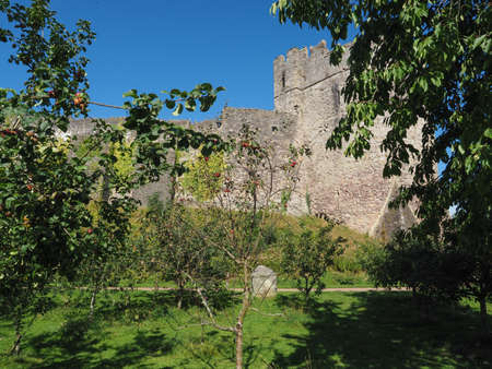 Ruins of Chepstow Castle (Castell Cas-gwent in Welsh) in Chepstow, UK