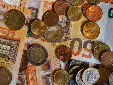 Euro banknotes and coins (EUR), currency of European Union 版權商用圖片