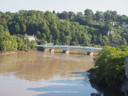 River Wye (Afon Gwy in Welsh) marks the border between England and Wales in Chepstow, UK