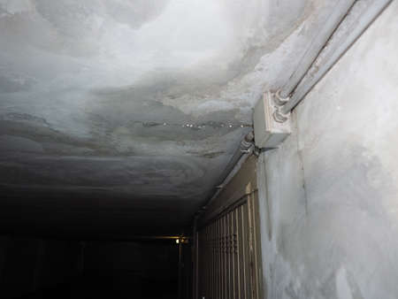 damage caused by dampness and moisture on a ceiling, with droplets of water infiltration Stok Fotoğraf