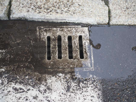 detail of a manhole in the street