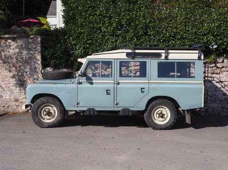CHEPSTOW, UK - CIRCA SEPTEMBER 2019: light blue Land Rover Defender car