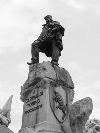 Monument to Giuseppe Garibaldi in Turin, Italy in black and white