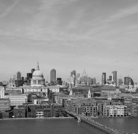 Panoramic view of River Thames in London, UK in black and white
