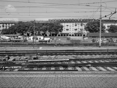 TURIN, ITALY - CIRCA AUGUST 2019: Torino Porta Nuova railway station in black and white