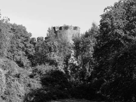 Ruins of Chepstow Castle (Castell Cas-gwent in Welsh) in Chepstow, UK in black and white Stock Photo