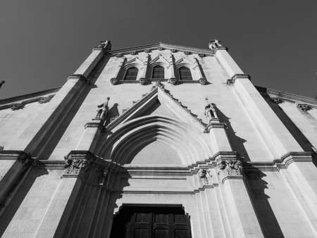 San Pellegrino Laziosi parish church in Turin, Italy in black and white