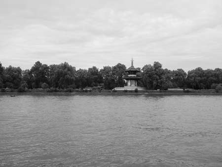 Japanese Buddhist Peace Pagoda temple in Battersea Park by the River Thames London in London, UK in black and white