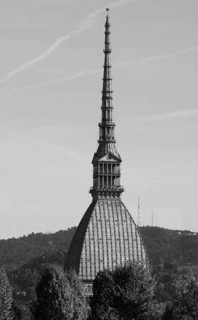 The Mole Antonelliana in Piedmont, Turin, Italy in black and white