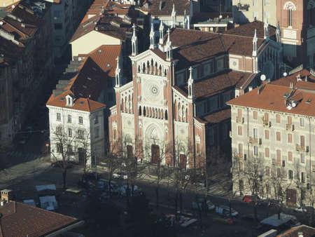 Aerial view of the city of Turin, Italy with Gesu Nazareno (translation: Jesus of Nazareth) parish church
