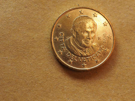 50 cents money (EUR), currency of European Union, commemorative coin showing Pope Benedictus XVI Stok Fotoğraf