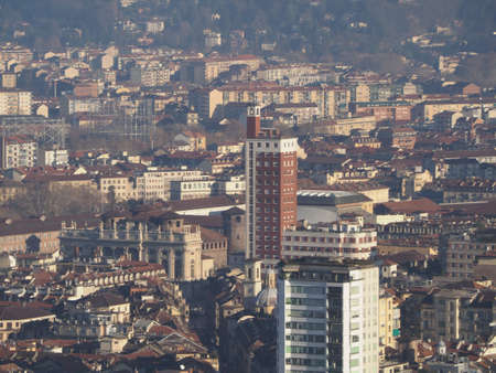 Aerial view of the city centre of Turin, Italy with Piazza Castello square