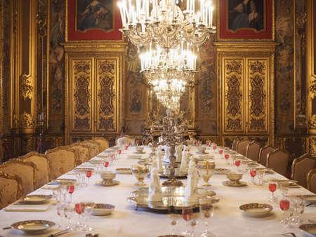 TURIN, ITALY - CIRCA JANUARY 2020: Palazzo Reale (translation Royal Palace) dining room