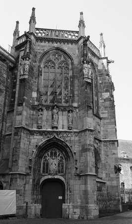 Aachener Dom cathedral church in Aachen, Germany in black and white