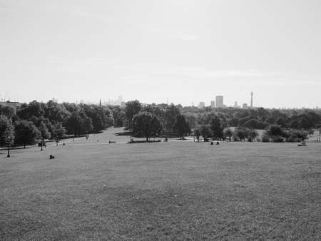 Primrose Hill north of Regents Park in London, UK in black and white