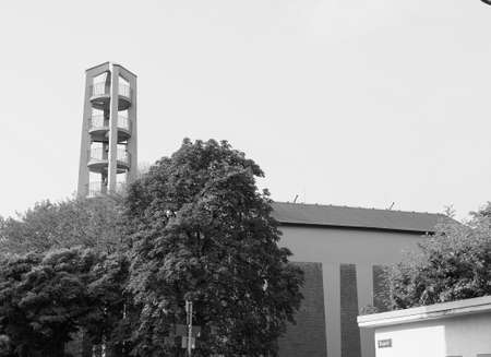 the Sankt Pankratius church in Koeln, Germany in black and white Imagens