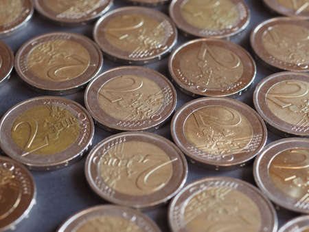 Two Euro coins money (EUR), currency of European Union