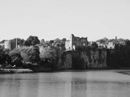 River Wye (Afon Gwy in Welsh) marks the border between England and Wales in Chepstow, UK in black and white