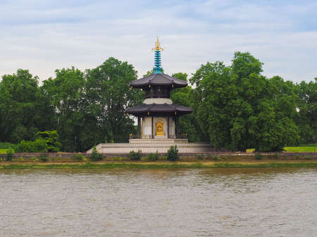 Japanese Buddhist Peace Pagoda temple in Battersea Park by the River Thames London in London, UK Stock fotó