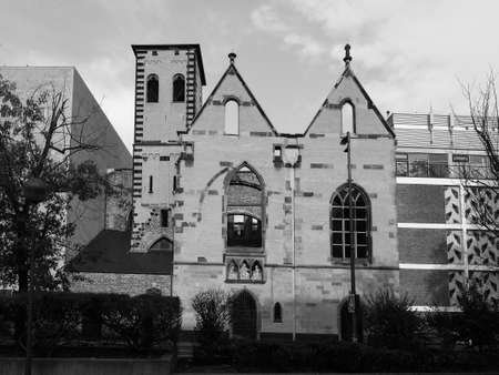 Ruins of Alt St Alban old romanesque church bombed during wwii in Koeln, Germany in black and white