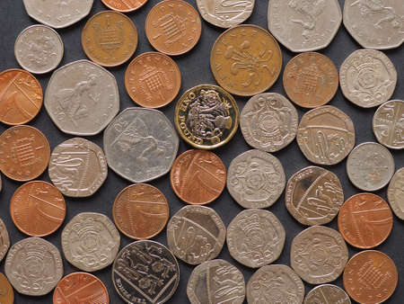 Pound coins money (GBP), currency of United Kingdom, over black background