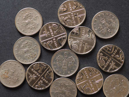 5 pence coin money (GBP), currency of United Kingdom