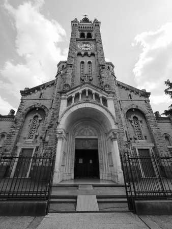 Santa Rita da Cascia (Saint Rita of Cascia) church in Turin, Italy in black and white
