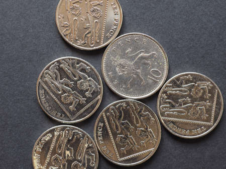 10 pence coin money (GBP), currency of United Kingdom