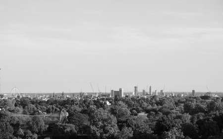 View of London skyline from Primrose Hill north of Regents Park in London, UK in black and white