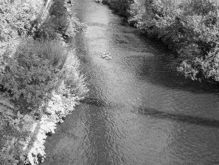River Wupper (aka Wipper in its upper course) in Wuppertal, Germany in black and white