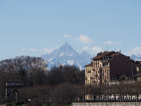 Monviso (aka Monte Viso) mountain part of the Alps range seen from the city of Turin