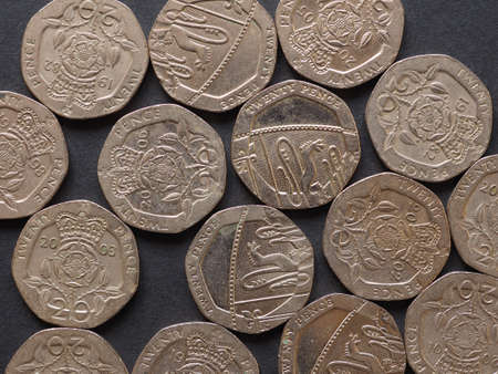 20 pence coin money (GBP), currency of United Kingdom