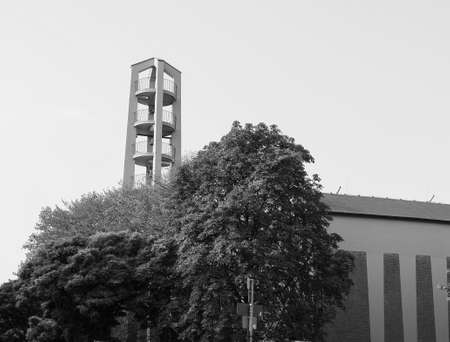 the Sankt Pankratius church in Koeln, Germany in black and white